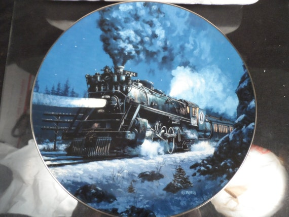 """Collector Plate-Ceramic Collectible Plate with a Train- Knowles 1954 """"The Empire Builder"""" First Edition Decorative Plate"""