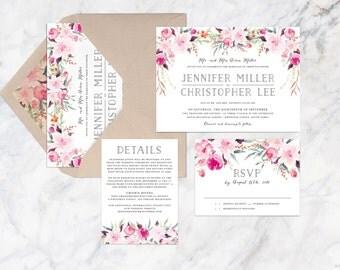 Printable Wedding Invitation Set, Peach Pink Pastel Bohemian Flower Wedding Invitation Set