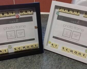 First School Picture Frame, Memory Box Frame, Reception Class Photo, Kindergarten Frames, Childhood Memories, Scrabble Frames,