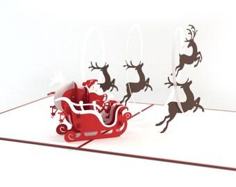 Santa in Sleigh with Reindeer Christmas Pop Up Card, Holiday Pop Up Card, Santa Christmas Card, Santa Claus Pop Up Christmas Card, Lovepop
