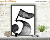 """SALE Scandinavian Poster Number Print, Number """"5"""" Printable, Wall Decor, Office Decor, Number Art Print, Instant Download, Typography Poster"""