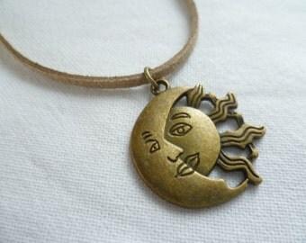 Sun and moon choker,sun and moon jewelry,sun choker,moon choker,wiccan jewellery,pagan jewelry,handmade,gift,moon jewelry,necklace,celestial