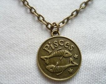 Pisces necklace,zodiac jewellery,pisces jewelry,zodiac necklace,astrology birthday gift,horoscope star sign jewelry,handmade,pisces pendant