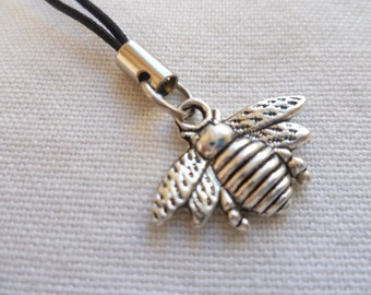 Bee phone charm,bee cell phone accessory,silver bee,mobile accessory,mobile charm,phone lanyard,gift,cell phone charm,insect charm,handmade