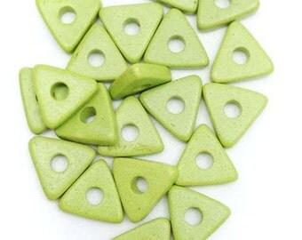 20 ceramic triangles, light green, 10mm, 20 pieces, ceramic beads, ceramic discs, disc, square, rectangular, greek beads, mykonos beads, matt