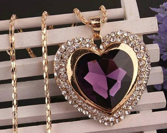 Purple Heart Long Necklace - Long Pendant Necklace - Gold Rhinestone Necklace - Heart Statement Necklace