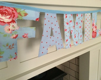 Blue Floral Family Letter Bunting