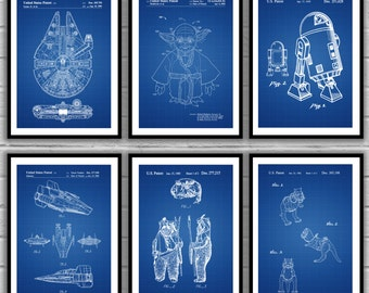 Star Wars Patent, Millennium Falcon, Tie Bomber, X-wing, AT-AT, Star Wars Poster, Star Wars Patent, Millennium Falcon Star Wars Print