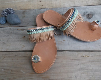 Pompom Sandals, Greek Boho Sandals,  Pom Pom Sandals,  Ethnic Sandals  Bohemian sandals Handsewn sandals
