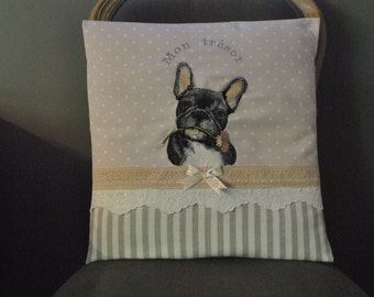 "Very pretty embroidered Cushion cover ""French Bulldog"""