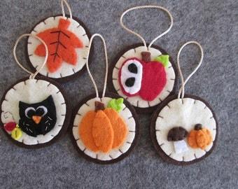 Felt ornaments-5 Decorations for fall with OWL, pumpkin, mushroom, Apple and leaf-Christmas Decor-handmade creations-