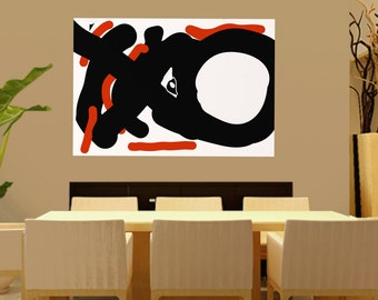 orange black and white, Handmade Extra Large Contemporary Painting, Huge Abstract Canvas Art, minimalist paintings, Large canvas wall Art