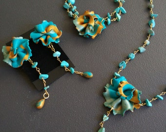 "Turquoise flower lariat necklace flowers short necklace turquoise collection ""Spring"""