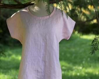 Linen Tee Top in Shell Pink