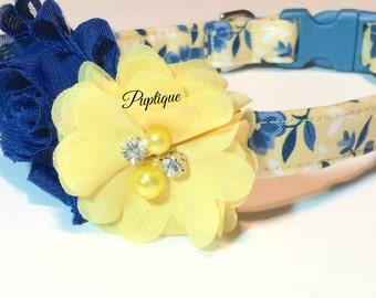 Country Blue Dog Collar ~  Floral Design ~ Handmade Dog Collar