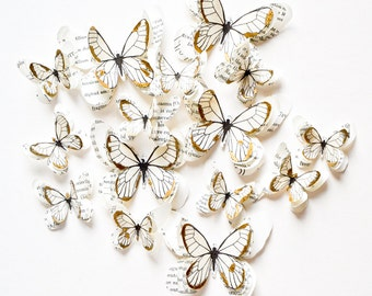 White and gold butterflies, gold paper butterflies, fairytale wedding decor, butterfly wall art, gold wedding theme, gold baby shower decor