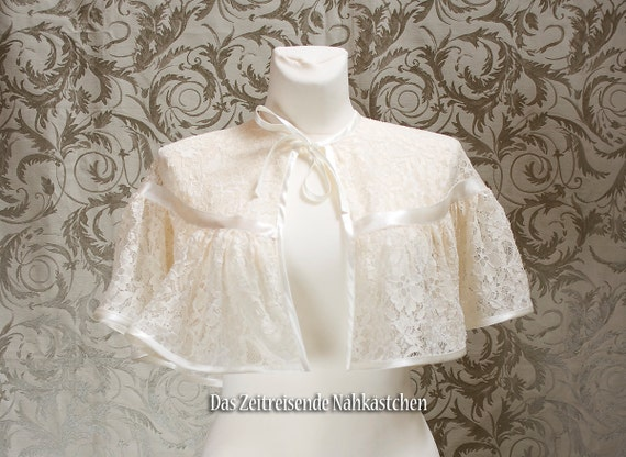 Victorian Wraps, Capes, Shawl, Capelets Lace Cape victorian Cape champagne-coloured  $62.31 AT vintagedancer.com