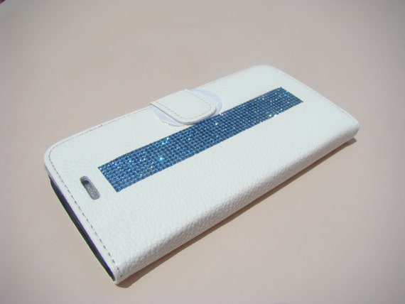 iPhone 6 Plus/ 6s Plus Blue Sapphire Rhinestone Crystal, White Wallet Case. Velvet/Silk Pouch bag Included, Genuine Rangsee Crystal Cases.