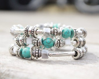 Turquoise Memory Wire bracelet memory wire wrap bracelet memory wire bracelets wrap bracelet turquoise bracelet silver bracelet