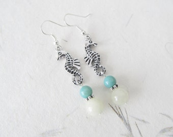 Seahorse earrings, summer earrings, agate earrings, boho earrings