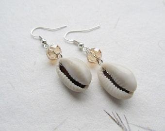 Cowrie shell earrings, summer jewelry, beach earrings