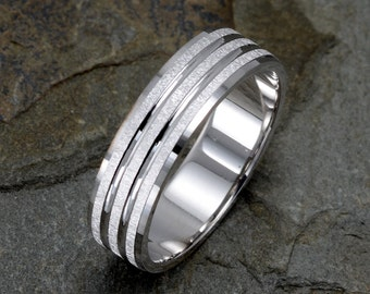 14K Wedding Band Brushed two stripes around the ring Mens Wedding Ring Solid Gold Band Anniversary his and hers Gift