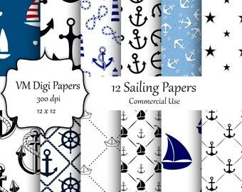 Nautical Digital Paper, Seaside Paper, Sailing Digital Paper, Commercial Use, Nautical Background