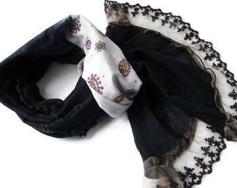 Paisley shawl,Black scarf Patchwok, Bohemian accessories, Womens gift, Teens gift, Holiday accessory, Accesorie for Women, Boho shawl Cotton