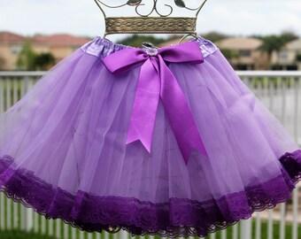 Purple lace and tulle tutu, girl's birthday tutu, size 5/6 tutu, pretty tutu, handmade tutu, four layers tutu, purple tutu, birthday tutu