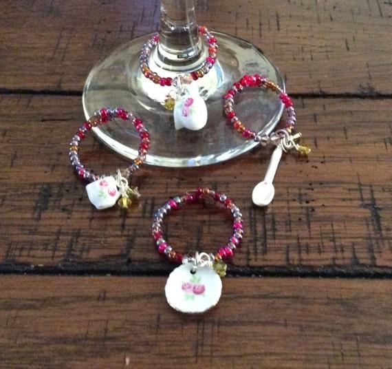 UNIQUE WINE GLASS Charms -Set of Four