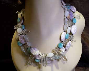Two strand beaded necklace made with hand carved jasper and other fabulous stones