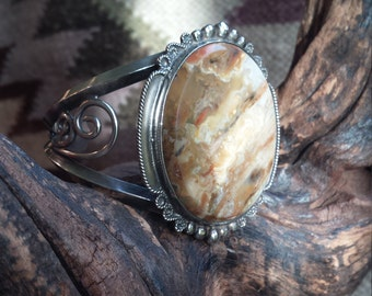 Native American sterling silver cuff yellow jasper