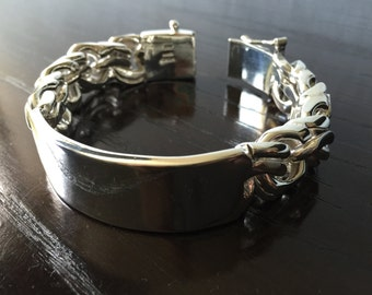 Mens .925 Sterling Silver very Thick and heavy chain link bracelet with name plate chinese model Handmade.