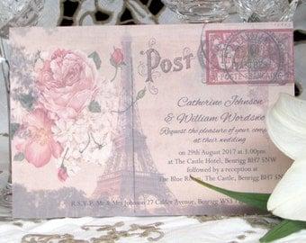 Wedding Invitations ~ Personalised Paris Post Card Wedding Invites with Envelopes ~ 10x15cm approx. Vintage Postcard Rustic Boho Shabby Chic