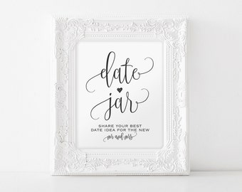 Date Jar Sign, Date Night Sign, Date Jar Ideas, Date Ideas Sign, Date Night Jar, Date Sign, Wedding Sign, PDF Instant Download #BPB203_62