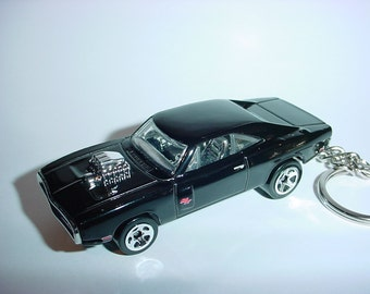 3D 1970 Dodge Charger R/T custom keychain by brian thornton keyring key chain finished in gloss black fast furious
