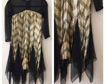 1920s Style Flapper Girl Dress Costume Black and Gold Theater Quality Cosplay 20s Historical Gatsby Art Deco XS