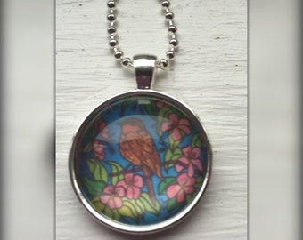 Little Brown Bird Art Pendant and Chain Necklace- Original Painting Domed Glass Silver Pendant Handmade