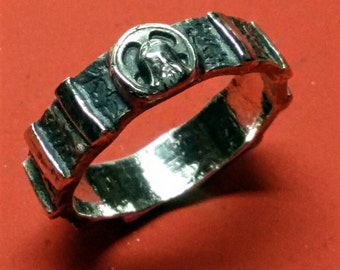 Rosary ring with Jesus face sterling silver for daily prayer FREE SHIPPING