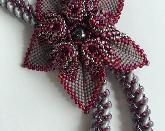 Purple Lariat-  Grey Lariat- Peyote Flower Slide Pendant- Long Beaded Lariat- Gift for Her