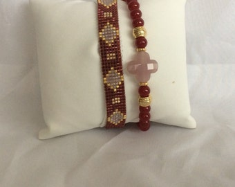 Bordeaux red bracelet set