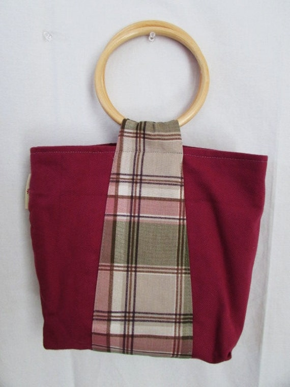 Plaid on Pink Wood Handle Handbag