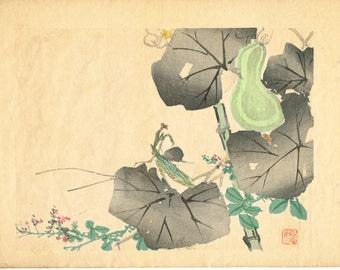 "1913, Japanese Woodblock print, antique, Mutobe Kiho, "" Mantis"""