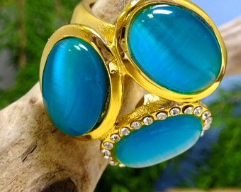 Blue Gem Stone Gold CZ Chunky Flower Stainless Steel Ring