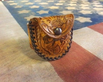 Hand Tooled Lether Wrist Pouch