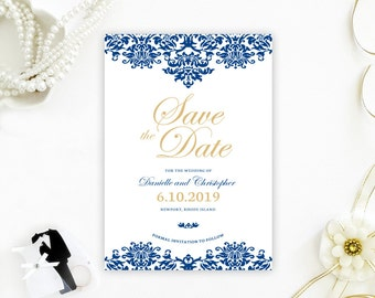Damask Save The Date Cards | Royal blue and gold wedding save the dates printed on luxury cardstock | save the date invitations