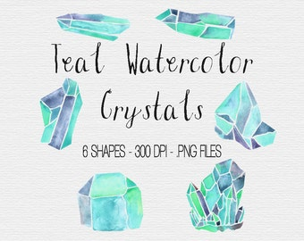 Crystal Clipart | Teal Crystals | Watercolor Crystals | Watercolor Clipart