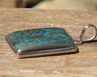 Rectangle Chrysocolla Silver Pendant, Green, Brown, Blue, Mineral, Strength, Balance, Throat Chakra, Love, Metaphysical, Jewellery, Jewellry