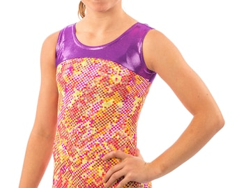 Gymnastics Dance Lizatards Discounted Leotard Neon Checkers Girls XS (4), Small (5-6), Medium (7-8), Large (10-12)