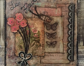 Mixed Media, Wood Canvas, La Fleur, 10 x 10 canvas, Mixed Media Art, wall art, gift for her, home decor, painting, handmade, one of a kind